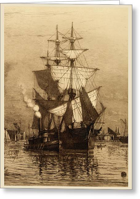 Historic Schooner Photographs Greeting Cards - Historic Seaport Schooner Greeting Card by John Stephens