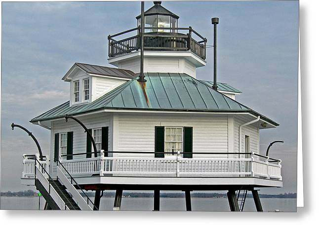 Hooper Straight Lighthouse Greeting Card by Skip Willits