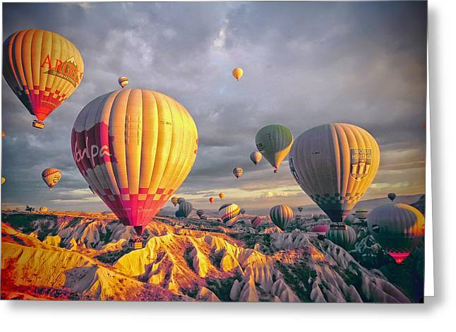Colorful Cloud Formations Greeting Cards - Hot Air Balloons over Turkey Greeting Card by Mountain Dreams