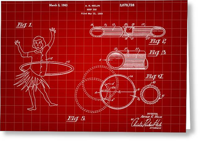 Hula Hoop Greeting Cards - Hula Hoop Patent 1959 - Red Greeting Card by Stephen Younts