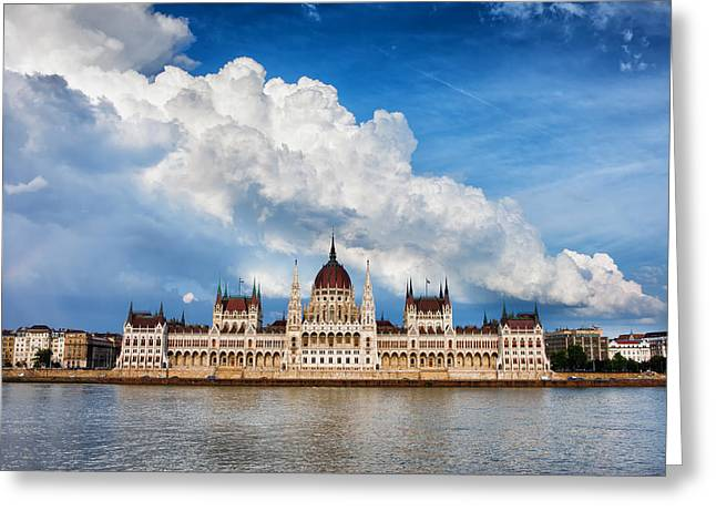 Neo-gothic-style Greeting Cards - Hungarian Parliament Building in Budapest Greeting Card by Artur Bogacki