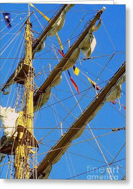 Crows Framed Prints Greeting Cards - I Thought I Saw Three Sailing Ships Three Sailing Ships Early In The Morn N Greeting Card by Michael Hoard