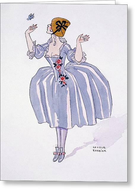 Rosette Greeting Cards - Illustration for Fetes Galantes Greeting Card by Georges Barbier