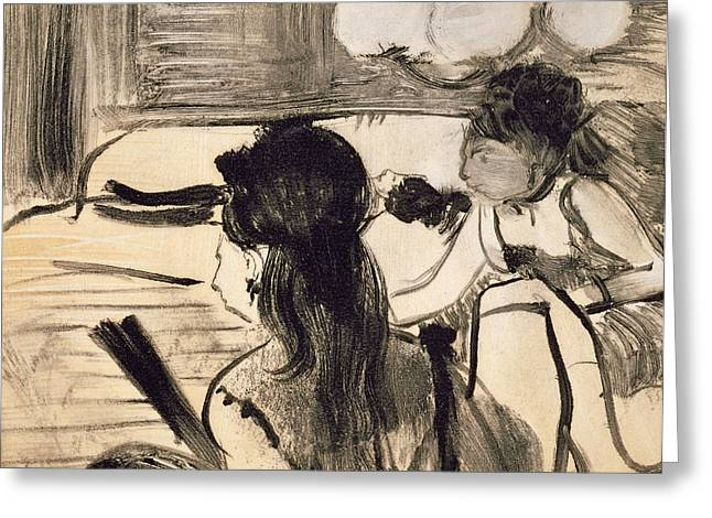 Prostitute Greeting Cards - Illustration from La Maison Tellier by Guy de Maupassant Greeting Card by Edgar Degas