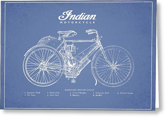 Chopper Greeting Cards - Indian motorcycle Greeting Card by Aged Pixel