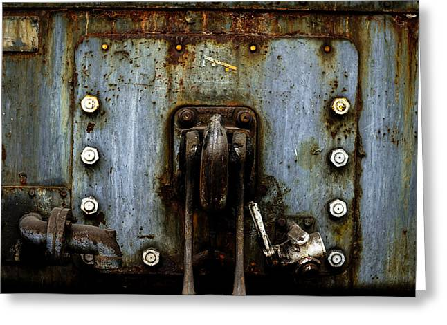 Industrial Concept Pyrography Greeting Cards - Industrial crain closeup photo Greeting Card by Oliver Sved