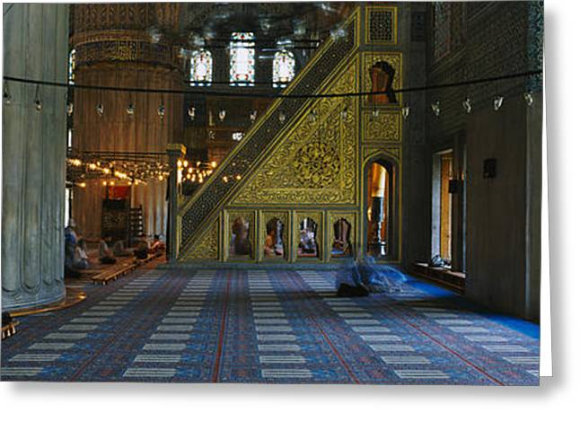 Open Place Greeting Cards - Interiors Of A Mosque, Blue Mosque Greeting Card by Panoramic Images
