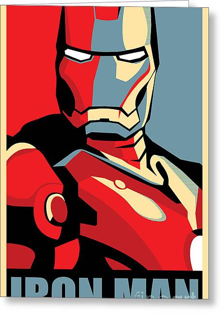 Geometric Art Greeting Cards - Iron Man Greeting Card by Caio Caldas