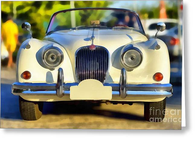 Car Mascot Paintings Greeting Cards - 1957 Jaguar XK 150 Drophead Coupe Greeting Card by George Atsametakis
