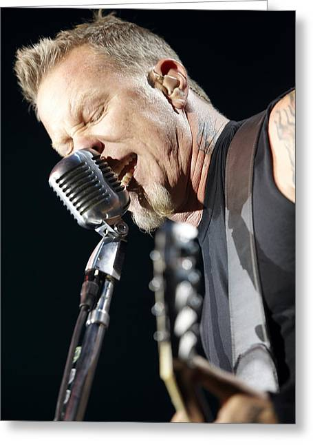 Metallica Greeting Cards - James Hetfield Greeting Card by Ben James