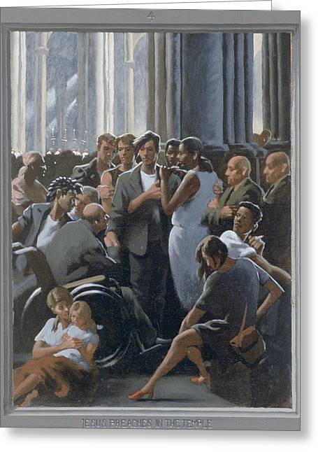 Recently Sold -  - Holy Week Greeting Cards - 4. Jesus Preaches in the Temple / from The Passion of Christ - A Gay Vision Greeting Card by Douglas Blanchard
