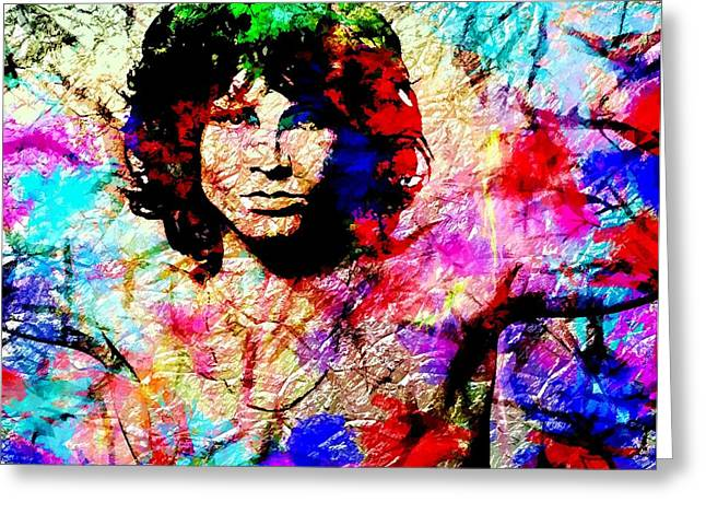 Abstract Digital Paintings Greeting Cards - Jim Morrison Greeting Card by Bogdan Floridana Oana