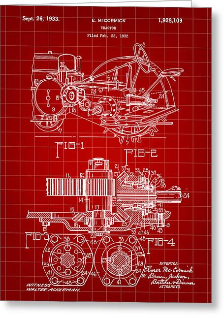 Harrow Greeting Cards - John Deere Tractor Patent 1932 - Red Greeting Card by Stephen Younts