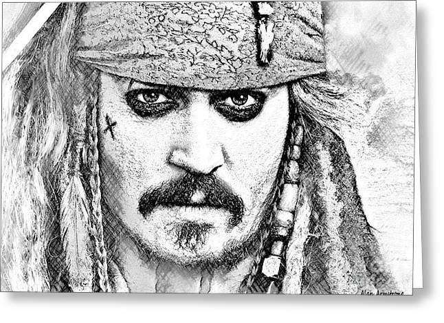 # 1 Johnny Depp Portrait. Greeting Card by Alan Armstrong