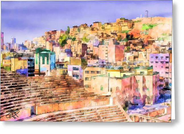 Petra - Jordan Digital Greeting Cards - Jordan/Amman/roman theater Greeting Card by Fayez Alshrouf