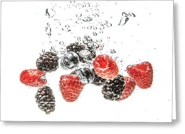 Raspberry Pyrography Greeting Cards - Juicy Fruit Greeting Card by Jennifer Russell