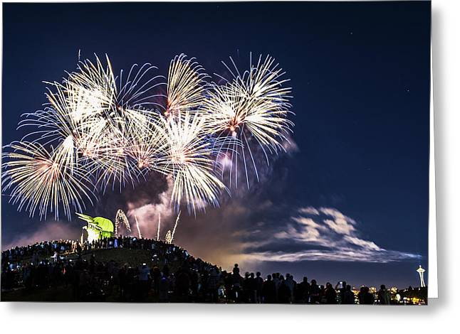 Ly Greeting Cards - July 4th Fireworks at Lake Union Greeting Card by Hisao Mogi