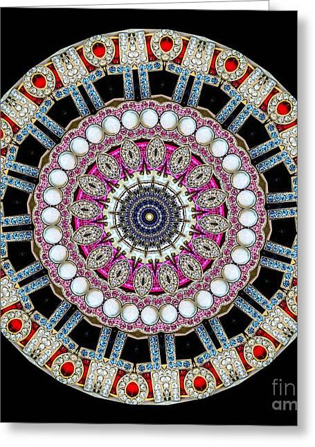 Jeweled Greeting Cards - Kaleidoscope Colorful Jeweled Rhinestones Greeting Card by Amy Cicconi