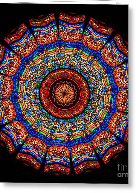 Kaleidoscope Greeting Cards - Kaleidoscope Stained Glass Window Series Greeting Card by Amy Cicconi