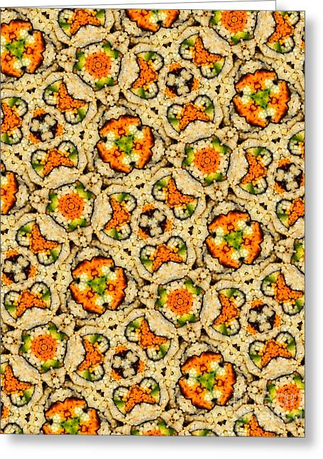 Vegetable Greeting Cards - Kaleidoscope Vegetable Sushi Greeting Card by Amy Cicconi