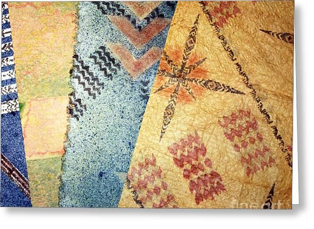 Contemporary Abstract Tapestries - Textiles Greeting Cards - 4 Kapa Greeting Card by Dalani Tanahy
