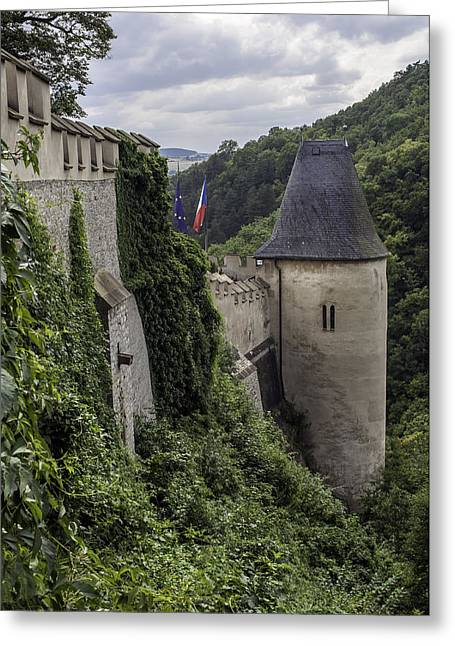 Czech Flag Greeting Cards - Karlstejn castle. Greeting Card by Fernando Barozza