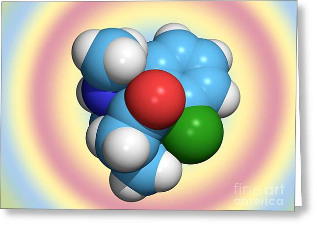 Hallucination Greeting Cards - Ketamine Molecule, Recreational Drug Greeting Card by Dr. Tim Evans