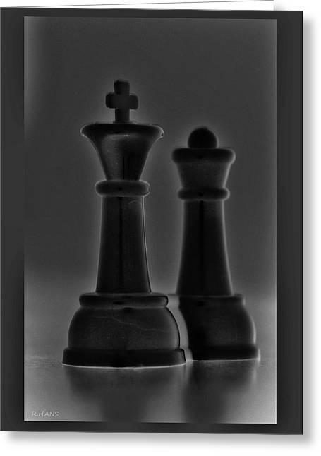 Game Piece Digital Art Greeting Cards - KING AND QUEEN in BLACK AND WHITE Greeting Card by Rob Hans