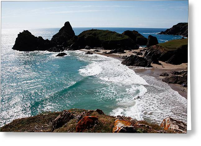 Cape Cornwall Greeting Cards - Kynance Cove  Greeting Card by Ollie Taylor