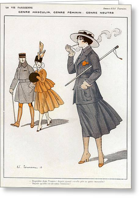 Sexism Drawings Greeting Cards - La Vie Parisienne  1916 1910s France Cc Greeting Card by The Advertising Archives