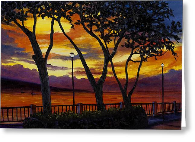Lahaina Greeting Cards - Lahaina Sunset Greeting Card by Darice Machel McGuire