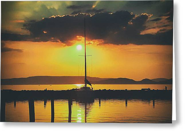 Sailboat Photos Greeting Cards - Lake Balaton Sunset - Hungary Greeting Card by Mountain Dreams