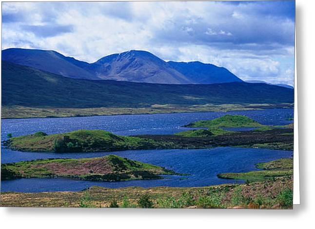 Rannoch Moor Greeting Cards - Lake With Mountain Range Greeting Card by Panoramic Images