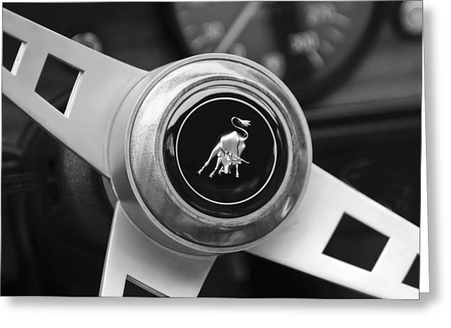 Steering Wheel Greeting Cards - Lamborghini Steering Wheel Emblem Greeting Card by Jill Reger