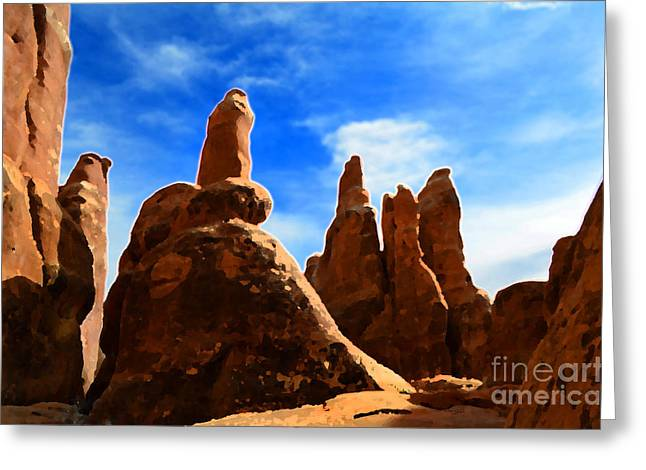 Park Scene Mixed Media Greeting Cards - Landscape in Arches National Park Greeting Card by Lane Erickson