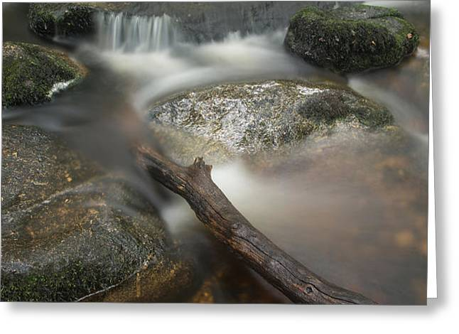 Landscape of Becky Falls waterfall in Dartmoor National Park Eng Greeting Card by Matthew Gibson