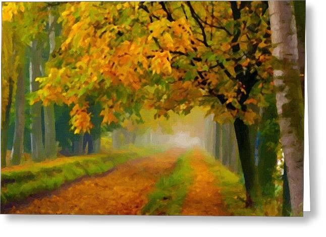 Sunset Prints Greeting Cards - Landscape Greeting Card by Victor Gladkiy