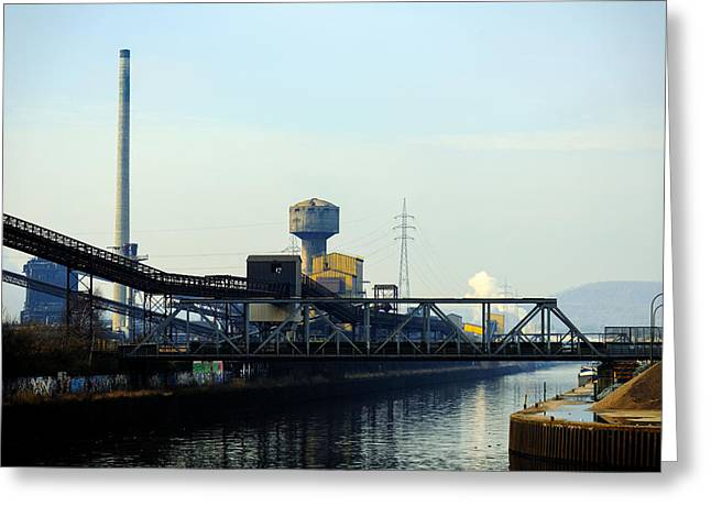 Power Plants Pyrography Greeting Cards - Landscape with industrial architecture Greeting Card by Oliver Sved