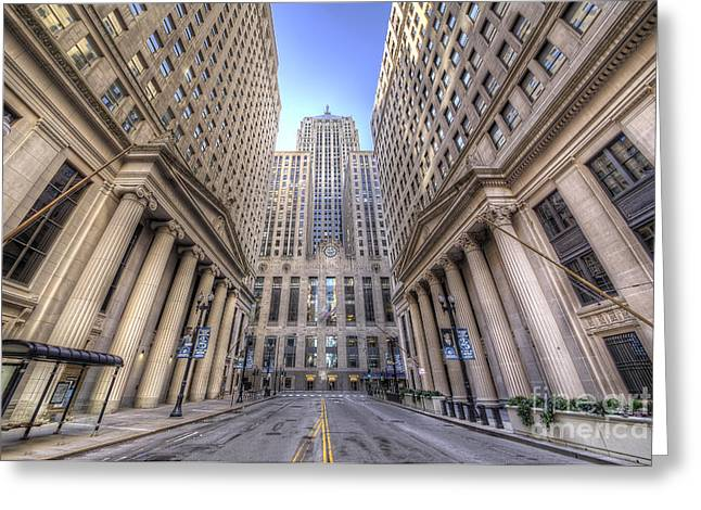 Lasalle Street Greeting Cards - LaSalle Street in Chicago Greeting Card by Twenty Two North Photography