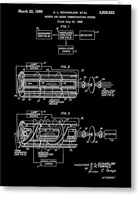 Helium Greeting Cards - Laser Patent 1958 - Black Greeting Card by Stephen Younts