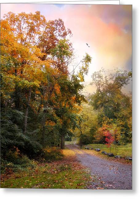 Fall Trees Greeting Cards - Last Light Greeting Card by Jessica Jenney