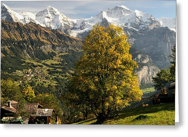 Jungfrau Greeting Cards - Lauterbrunnen Valley With Mt Eiger Greeting Card by Panoramic Images