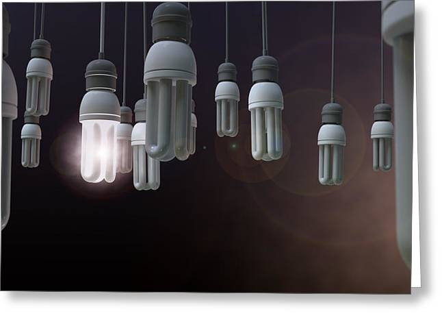 Thinking Digital Greeting Cards - Leadership Hanging Lightbulb Greeting Card by Allan Swart