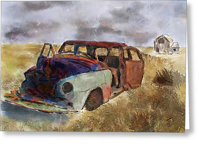 Rusted Cars Digital Greeting Cards - Left Behind Greeting Card by Dale Stillman