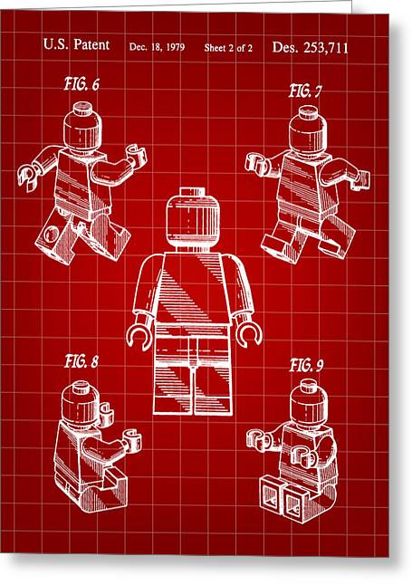 Lego Greeting Cards - Lego Figure Patent 1979 - Red Greeting Card by Stephen Younts