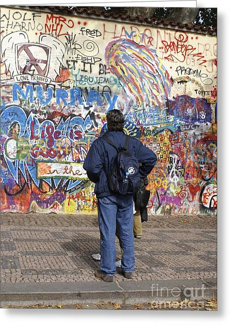 Anti Greeting Cards - Lennon Wall, Prague Greeting Card by Mark Williamson