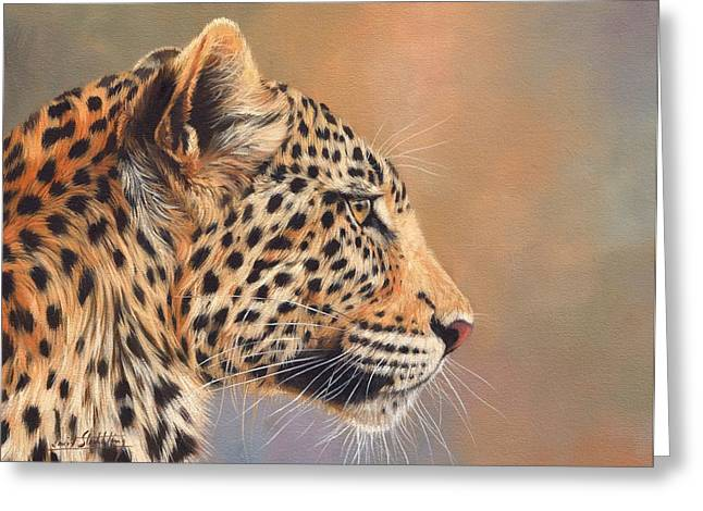 Leopard Print Greeting Cards - Leopard Greeting Card by David Stribbling
