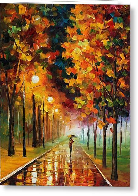 Afremov.com Greeting Cards - Light Of Autumn Greeting Card by Leonid Afremov