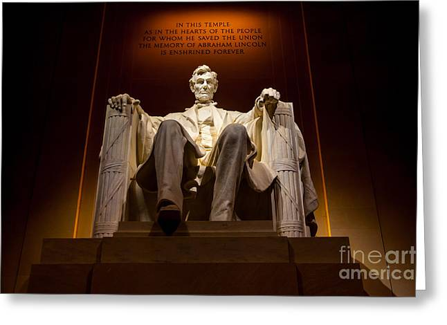 Lincoln Memorial At Night - Washington D.c. Greeting Card by Gary Whitton