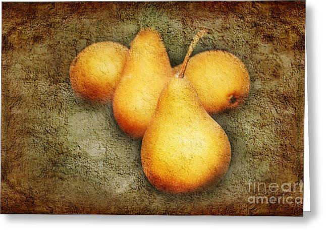 Pear Mixed Media Greeting Cards - 4 Little Pears Are We Greeting Card by Andee Design
